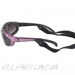 Pacific Coast Chix Freedom Padded Riding Sunglasses with Detachable Strap (Pearl Purple Frame/Grey Fade Lens)
