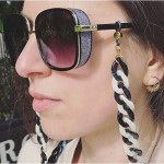 Obmyec Punk Chunky Eyeglass Chain Black White Sunglasses Chain Acrylic Reading Glass Chain for Women and Men