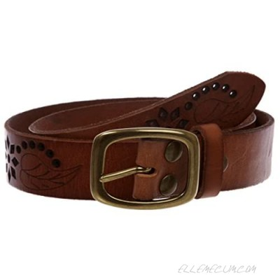 """1-1/4"""" Perforated Oval Embossed Casual Vintage Leather Jean Belt"""