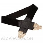 CHIC DIARY Women Skinny Belt for Dresses Retro Stretchy Elastic Waist Belts Gold Buckle Belt Plus Size (Bowknot buckle)