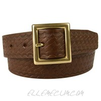 """Leather Belt Made In UK - Embossed Basket Weave Print Solid Brass Buckle - 1-3/8"""" Wide (35mm)"""