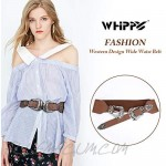 WHIPPY Women Western Waist Belt Double Retro Carved Buckle Elastic Stretchy Wide Ladies Waistband for Dress