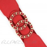 Women's Chain Shaped Double O-Ring Buckle Elastic Stretchy Waist Cinch Belt 50mm