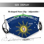 Conch Republic Flag Unisex Face Mask Reusable Washable Balaclava Bandana Adjustable Ear Loops Face Cover For Outdoor Sports Working Fishing Cycling Hiking Running