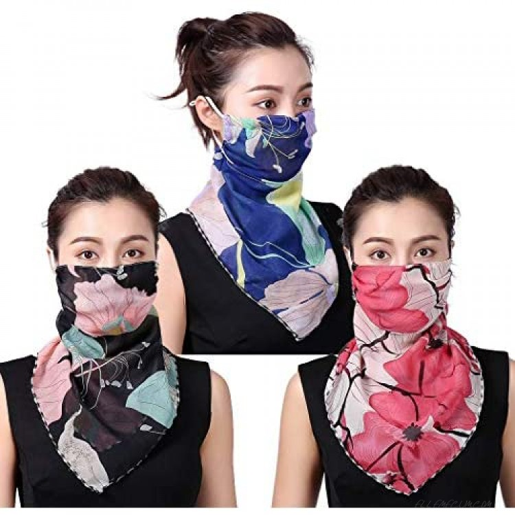 ELABEST Boho Outdoor Face Scarf Mask with Ear Loop Sport Sun Protection Scarves 3Pack Chiffon Face Covering Flower Neck Gaiter for Women
