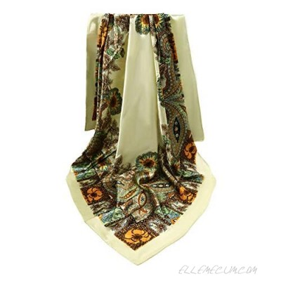 MJScarf 35'' Large Silk Feeling Scarf Square Satin Print Scarf for Women