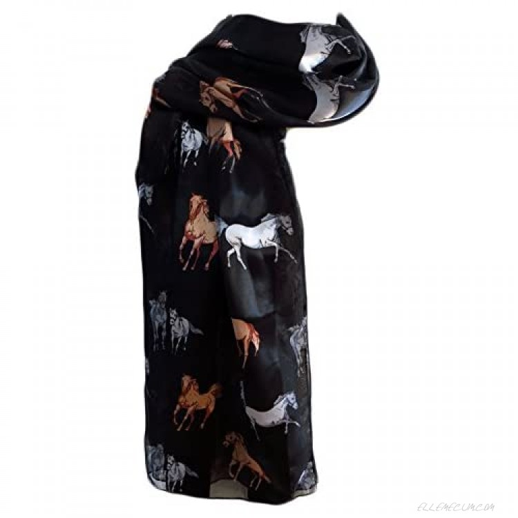 New Company Womens Equestrian Horse Scarf - Black - One Size