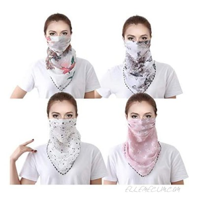2 or 4 6 Pack Women Face Scarf Mask Chiffon Wrap Dust Shield Neck Gaiter Wind UV Protection