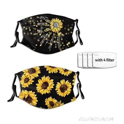 2PC You Are My Sunshine Sunflower Anti Dust Balaclava Face Masks with 4 Filter Breathable for Men Women Teenager
