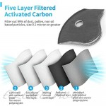 5 Pcs PM2.5 Filter Pad Replacement Pad Inner Pad Filter Five-Layer Activated Carbon Active Carbon Filters Dust Proof Anti Haze Replacement Filter Pads