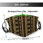 African Print Tribal-Face Mask with 2 Filter Breathable Filters Mask African Balaclava for Men Women Teenager