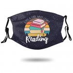 Just A Girl Who Loves Reading Book Lover Unisex Adults Face Mask Washable Reusable Adjustable Bandanas Skincare for Dust Outdoors