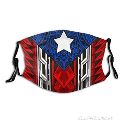 Puerto Rico Rican Flag Face Mask Breathable Washable with 2 Filter Balaclava for Men Women Teenager