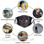 Rhinestone Studs Sugar Skull Face Mask Balaclava Windproof Adjustable Elastic Strap with 2 Filters Reusable Washable Ear Loops for Women Men Adult Gift Sport Outdoor Travel Party Black