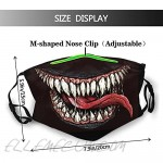 Scary Smile Face Mask Bandanas Balaclava Comfortabl & Reusable with 2 Pcs Filters for Adult Black