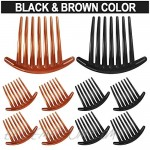 24 PCS 7 Tooth French Twist Comb Plastic Hair Clip Hair Side Combs Hair Accessory for Women Girls (Black and Brown)