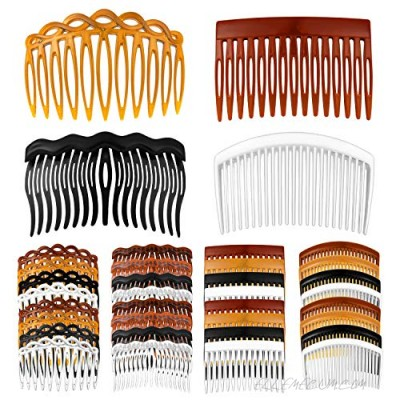Arriveok 32 Pieces French Hair Side Combs Set 11/15/17/23 Teeth Plastic Twist Combs with Hair Clip Combs Accessories Bridal Wedding Veil Comb for Girls Women