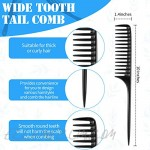 Carbon Fiber Cutting Comb and Wide Tooth Tail Comb Barber Comb Set Carbon Fiber Hairdressing Comb Anti Static Heat Resistant Styling Comb for Salon