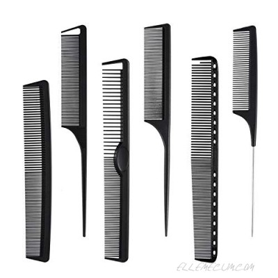 Carbon Fiber Hair Combs Set General Styling Grooming Comb Anti Static Heat Resistant Hairdressing Comb 6 pack Fine and Wide Tooth Hair Barber Comb Rat Tail Comb