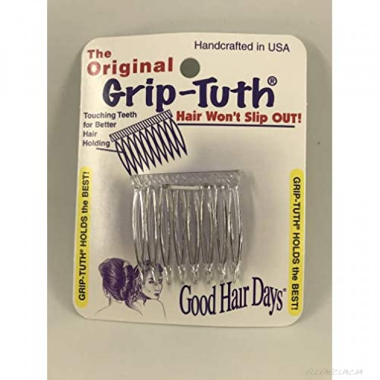 Good Hair Days Grip Tuth Hair Combs 40072 Set of 2 Clear 1 1/2 Wide Combs