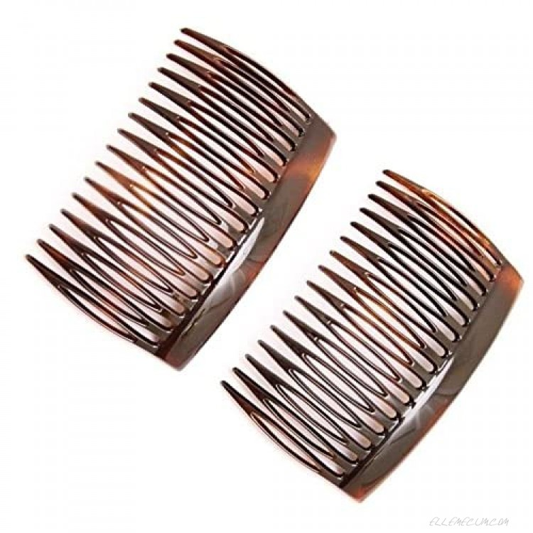 Parcelona French Glossy Shell Brown Celluloid 2 Pieces Good Grip Up do 16 Teeth Hair Side Combs -2.75 Inches (2 Pcs)
