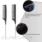 Source King Rat Tail Combs Pack of 2 - Heat Resistant Anti Static Foiling Comb with Stainless Steel Pintail for Styling of All Hair Types