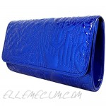 Embroidered Patent Leather Clutch