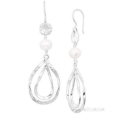 Silpada 'Altitude Check' 8-9 mm Freshwater Cultured Pearl Drop Earrings in Sterling Silver