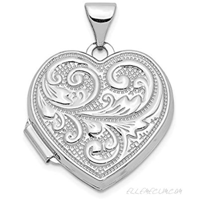 14k White Gold Scrolled Love You Always Heart Photo Pendant Charm Locket Chain Necklace That Holds Pictures Fine Jewelry For Women Gifts For Her