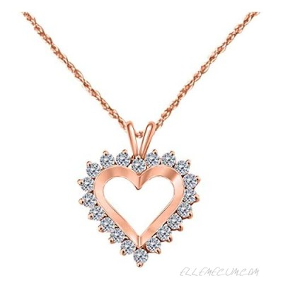 14k White Rose Yellow Gold In 1 Carat Conflict Free Round Diamond (I-J I2-I3) Open Heart Pendant Necklace For Women Jewelry With 18'' Free Box Chain Anniversary Engagement Wedding Birthday Collection