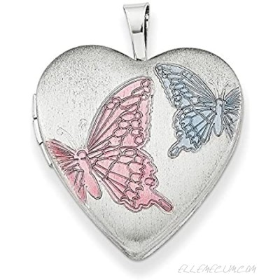 925 Sterling Silver 20mm Enameled Butterflies Heart Photo Pendant Charm Locket Chain Necklace That Holds Pictures Fine Jewelry For Women Gifts For Her