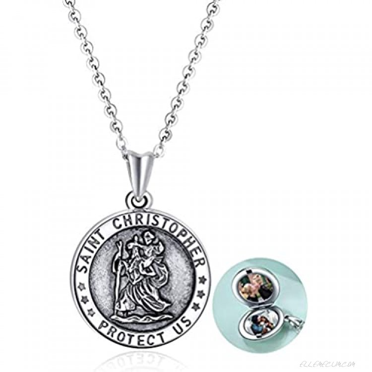 POPLYKE Sterling Silver Elephant/Giraffe/Saint Christopher Locket Necklace That Holds Pictures for Women Mom Daughter Birthday Gifts