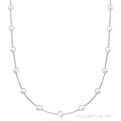 Ross-Simons 6-6.5mm Cultured Pearl Station Necklace in Sterling Silver