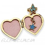 Solid 14k Yellow Gold 15mm Heart with Blue CZ Cubic Zirconia Make a Wish Locket (Charm Pendant Inside Locket) 15mm