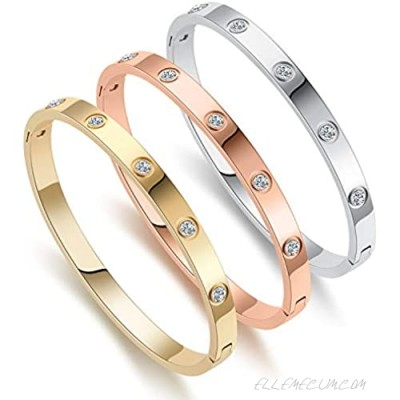 Love Friendship Bracelet Bangle Gold Rose Gold Silver with Cubic Zirconia Stones Stainless Steel Hinged Jewelry with Crystal Oval Bracelet Birthday Present for Her Women Teen Girls