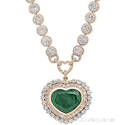 Dazzlingrock Collection Heart Colombian Emerald & Round White Diamond Ladies Halo Style Necklace White Diamond G Color; VS Clarity; Available in 10K/14K/18K Gold
