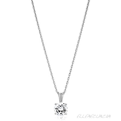 """Essentials Plated Sterling Silver Cubic Zirconia Round Cut Solitaire Pendant Necklace 18"""""""