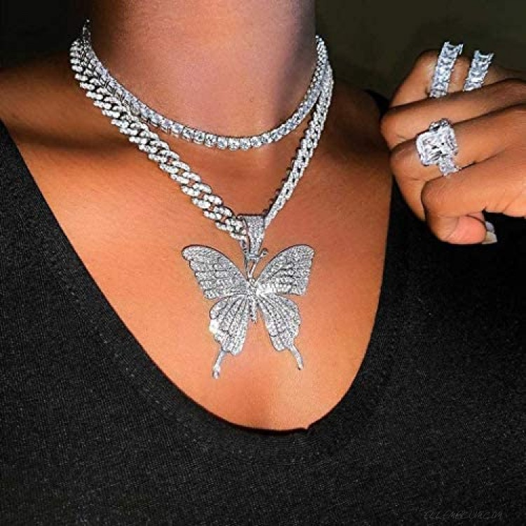 Earent Crystal Butterfly Choker Necklace Silver Cuban Link Chain Rhinestone Pendant Necklaces Chain Sparkly Butterfly Jewerly Party Accessories for Women and Girls