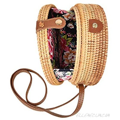 Handwoven Round Rattan Bag Tropical Beach Style Woven Shoulder Rattan Bag with Leather Strap