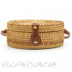 Handwoven Round Rattan Bag Women Beach Straw Woven Crossbody Bag Shoulder Bag with Leather Strap Gift for Women Girls